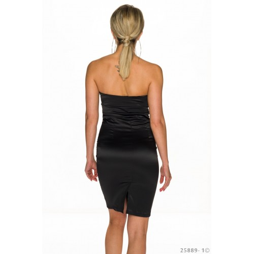 027ce37b97ac Φόρεμα Μαύρο Σατέν με λεοπάρ
